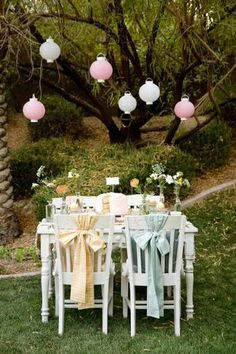 Pastel lanterns with calico bows