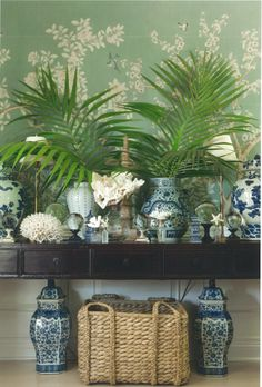 Ginger jars and wallpaper// costal decor
