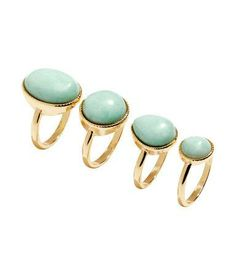 Mint and gold stackable rings for #prom. #stpatricksday #jewelry #gold #mint