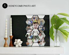 DIY honeycomb photos on a canvas