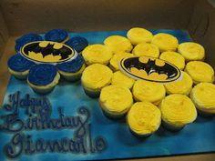 Batman cupcake cake :) batman cupcake cake, bryce birthday, cupcake cakes, birthday cakes