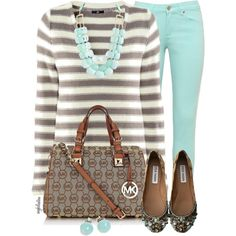 "Love this striped sweater and chunky necklace. ""Pants in ""Mint"" Condition Contest #3"" by angkclaxton on Polyvore"