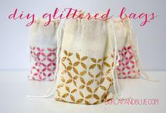 DIY Glittered Bags {a tutorial} - Burlap & Blue