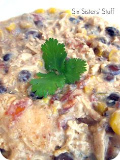 Slow Cooker Cream Cheese Chicken Chili.  SO easy and delicious! Sixsistersstuff.com #slowcooker #chicken