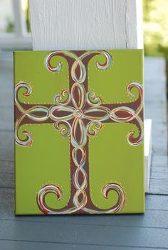 Cross Hand Painted Canvas. $35.00, via Etsy.