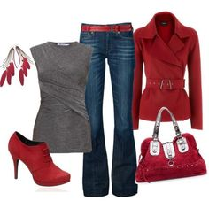 all but the shoes and earrings jean, jacket, fashion, red, style, fall outfits, shoe, coat, shirt
