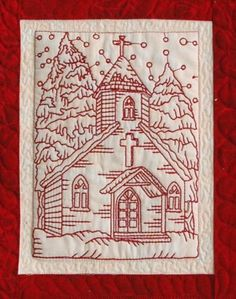 Advanced Embroidery Designs - Redwork Christmas Church Set .