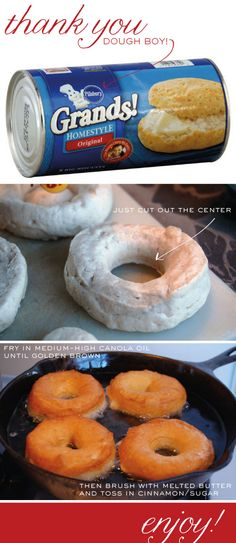 """""""Homemade"""" Doughnuts - I made these. Kids and Ray loved. Will make again for sure! easy dessert recipes for kids, quick breakfast for kids, food, favorit recip, quick recipes for kids, orang essenti, homemade doughnuts, quick easy recipes for kids, sugar scrub"""