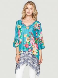 Johnny Was Mixed Print Silk Whimsical Tunic #floral #flower #springstyle #bohochic