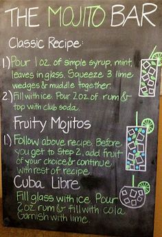 Havana Nights Surprise Party- create a rum inspired Mojito bar & design a fun drink menu- what a fun idea!