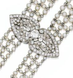 Detail: Edwardian seed pearl and diamond sautoir, J.E. Caldwell. Circa 1905. Via Diamonds in the Library.