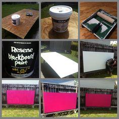 roller, blackboard paint, paint brushes