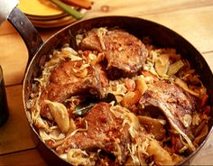 Smoky Pork Chops with Cabbage and Apple