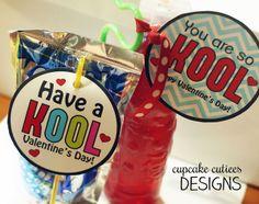 Kool Valentine- Juice Box or Bottle Digital Printable Tags