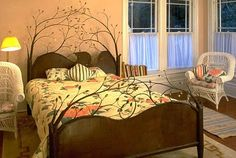 wall colors, interior design, bed frames, beds, trees, tree bed, forest, sleep, bedroom