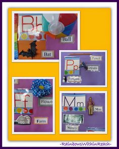 Word Wall with Physical Items and Print Word: Word Walls  #Kinderchat Environmental Print RoundUP at RainbowsWithinReach