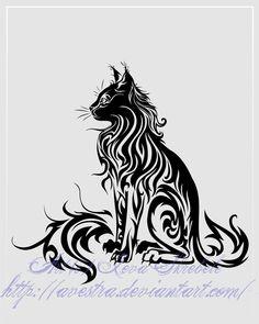 Sitting Cat Tribal Tattoo II by *Avestra on deviantART