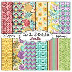 Digital Scrapbooking Papers Sadie Scrapbook by DigiScrapDelights