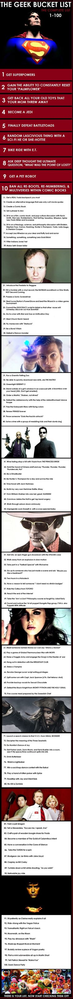 The Geek Bucket List #infographic