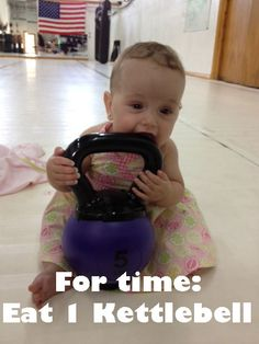 baby's first crossfit workout. #WOD #kettlebell