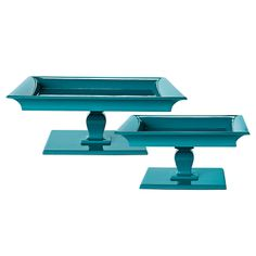 Square Pedestal Trays - Teal | Serena & Lily