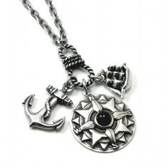 "Pirate Jewelry - ""Curse of the Black Pearl"" nautical pirate charm necklace, by Ghostlove"