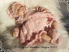 "'Fern Lace' Matinee Set 14-18"" doll/preemie baby-reborn knitting pattern, premature knitting pattern, preemie knitting pattern, doll knitting pattern, babydoll handknit designs"