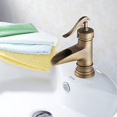 Antique Brass Finish Traditional Bathroom Sink Faucet - FaucetSuperDeal.com