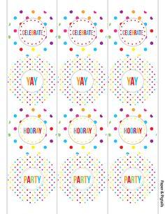 free printable: rainbow polka dot party circles