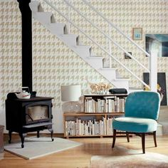 This graphic menswear pattern was created using Behr's Navajo White paint and stencil1.com's  Houndstooth repeat pattern | thisoldhouse.com