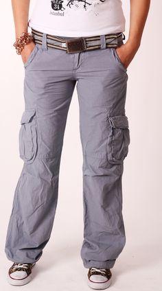 Old Cotton Cargo Woman Cargo Pant, Grey, livid    Old Cotton Cargo Bayan Kargo Pantolon, Gri