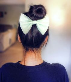 "5.25"" pastel green fabric hair bow clip, light green organza soft bow, hair bow for teens, women hair bow, big hair bow, mint green on Etsy, $3.99"