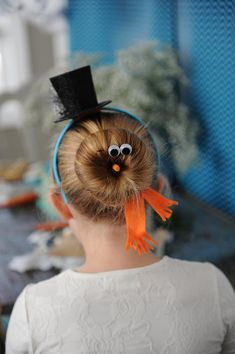 Snowman hair at a Disney's Frozen Party with So Many Cute Ideas via Kara's Party Ideas KarasPartyIdeas.com