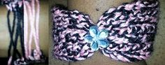 """CrochetBow TieBracelet  Handmade crochet bracelet. Bracelets stretch and slip on. Bow in the front with a  jewel flower in the center. The back is laced closed. 1"""" band.  Onesizefits most. Please allow 7-10 days for production and shipping.  Please use the special instructions field to request different colors on multiple bracelets.  http://www.angelscreation.webs.com"""