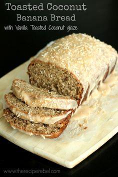 Toasted Coconut Banana Bread with Vanilla Toasted Coconut Glaze via @ashleyfehr/  // #bananabread #vanila #coconut #toastedcoconut