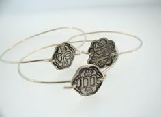 Recycled Fine Silver Floral Letter Bangle by MayaBelle on Etsy, $34.00