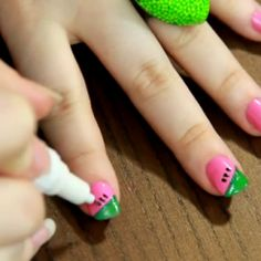 Create these adorable watermelon nails in just 5 easy steps!