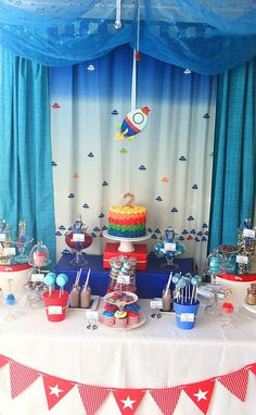 Cute outer space dessert table! #outerspace #desserttable #birthday