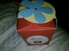 "This is super cute! Its a Chinese food take-out box with a ribbon and a few cut-outs put together for a childs birthday party favor. This particular ""party favor"" was for Gee's 3rd birthday party. SUPER CUTE!"