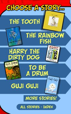 "Check it out! ""The Rainbow Fish"" read aloud by Ernest Borgnine. ""Harry the Dirty Dog"" read by Betty White and a bunch more read-alouds by actors on this free site created by the Screen Actors Guild. http://www.storylineonline.net/"