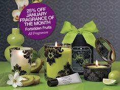 Love Forbidden Fruits!! Currant Casanova, Kiwi Kiss, Cranberry Crush, Fig Fatale and Plum Pleasure. #PartyLite #candles
