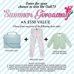 REPIN this post for your chance to WIN $550 of Oak73 goods. To enter: Like our page, share this post  join our mailing list @ www.oak73.com. So easy. #contests #contest #giveaway #giveaways #freeswag #fashion #style #ootd #summer #madeinusa #repin