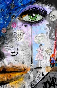 """Saatchi Online Artist: Loui Jover; Paper, Mixed Media """"she's well acquainted """""""