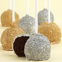 Silver and gold shimmer cake pops. Who wouldn't want to take a bit out of these?