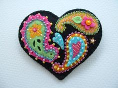 Beaded Felt  Heart - paisley 1