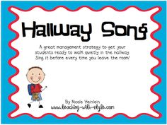 "FREE MISC. LESSON - ""Hallway Song"" - Go to The Best of Teacher Entrepreneurs for this and hundreds of free lessons.  #FreeLesson   #TeachersPayTeachers   #TPT   http://thebestofteacherentrepreneurs.blogspot.com/2012/10/free-misc-lesson-hallway-song.html"