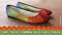 Shoe Makeover: Saint Patrick's Day Rainbow Glitter Flat Tutorial momspark.net