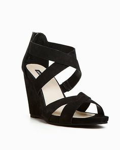 Strappy Black Wedge.