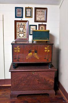 The stacking of chests is done for aesthetics as well  as to save space. From the largest to the smallest, they are from Preystown, Pennsylv...