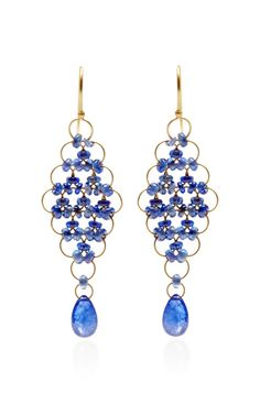 Shop Cabochon Blue Sapphire Kite Earrings by Mallary Marks for Preorder on Moda Operandi